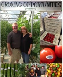 A couple smiling in large greenhouse