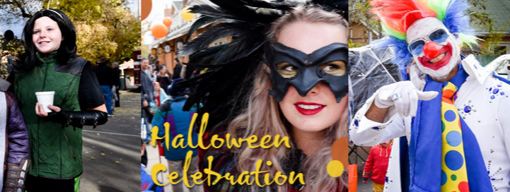 People in different halloween costumes image